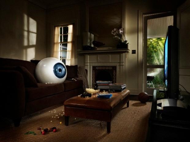 Giant eyeball in apartment room